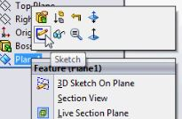 SolidWorks tutorials - New sketch on the new plane