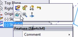 SolidWorks Tutorials for Beginners - First Sketch, Part 2:  how to show or hide a sketch element.