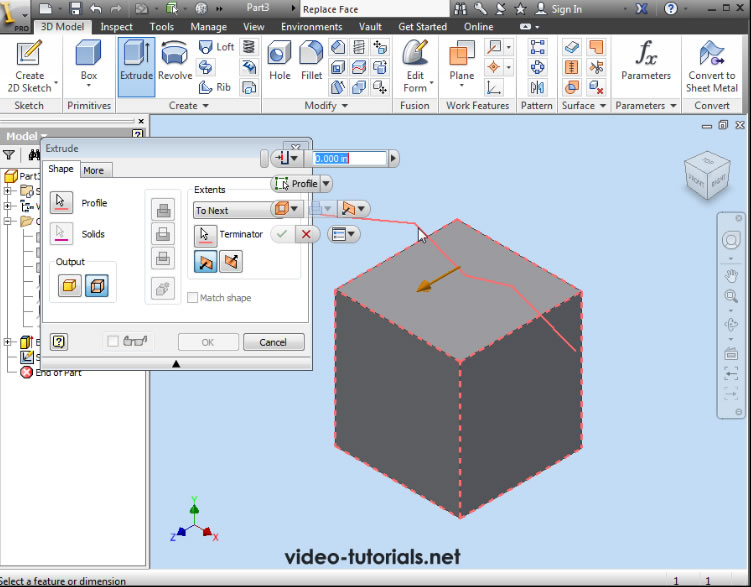 AutoDesk Inventor Tutorials: how to replace a face