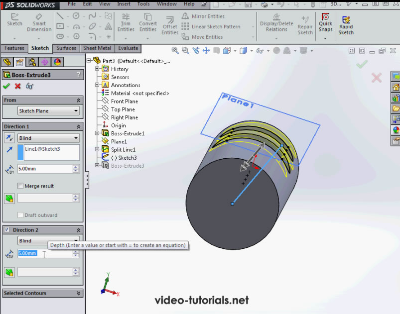 SolidWorks Tutorials Questions and Answers - Extruding Slots