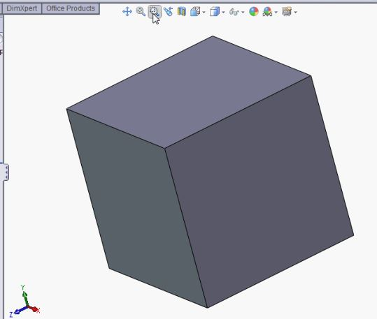 SolidWorks tutorials - zoom to fit tool.