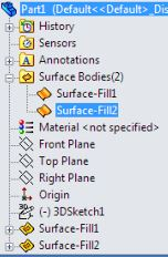 SolidWorks surface design tutorials for beginners - two Surface-Fill features.