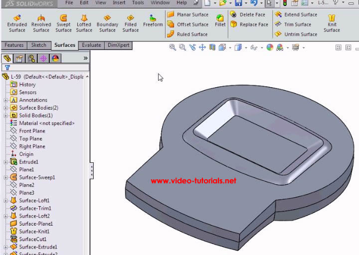 SOLIDWORKS basic surface design- our model