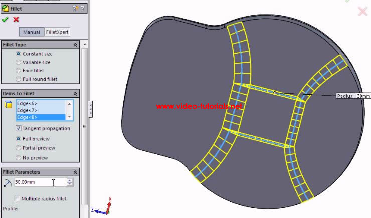 SOLIDWORKS basic surface design - third fillet preview