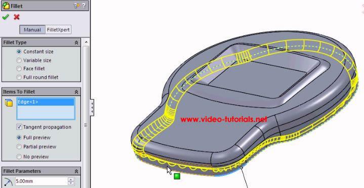 SOLIDWORKS basic surface design FILLETS by Video-Tutorials.Net