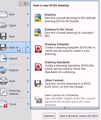 AutoCAD for dummies - the application menu