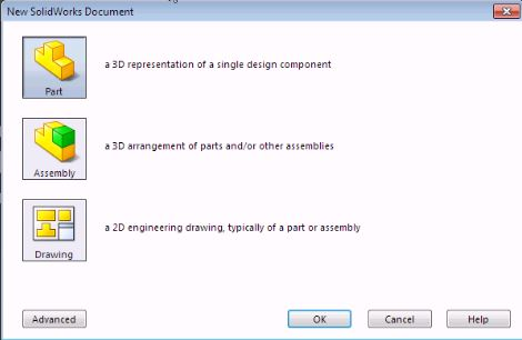 Solidworks Basic Training: Interface 101 - Document Dialog Window