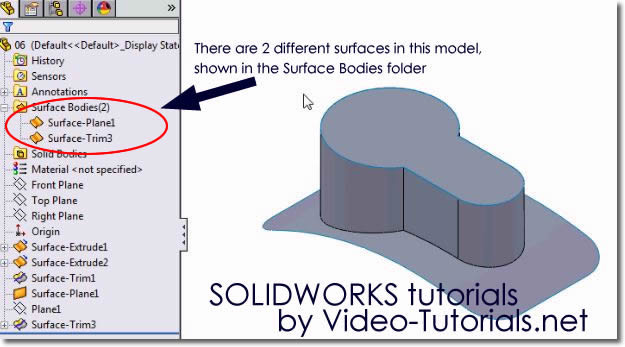 SOLIDWORKS tutorials surface design - using the knit surface tool