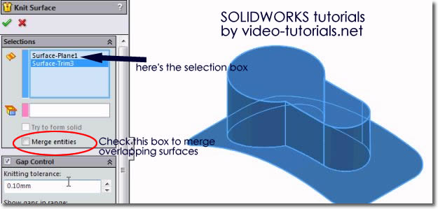 Solidworks tutorials Surface Design - how to knit surfaces