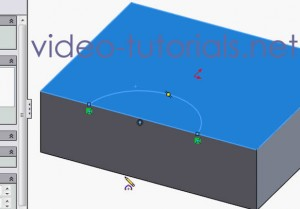 Fig 2 - 3 pt arc is our open profile - SOLIDWORKS cut features from open profiles