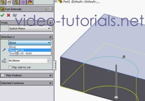 Fig 3 -the extruded cut property manager - SOLIDWORKS cut features from open profiles